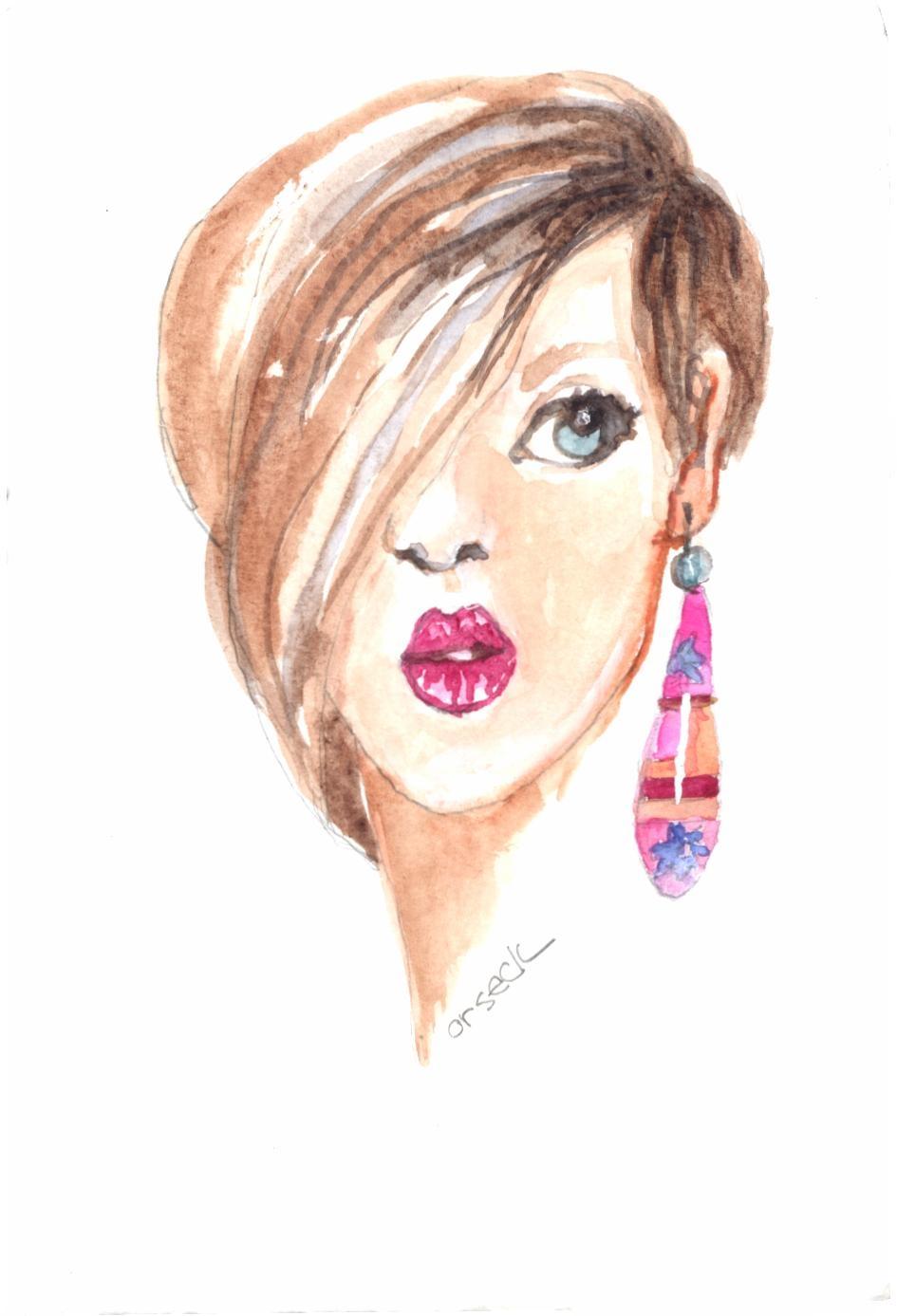 Ellen Orseck watercolor of Gail's earring